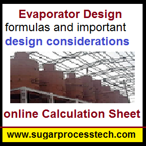 Formulas and design parameters in Tubular Evaporator Design with online calculation sheet- sugarprocesstech