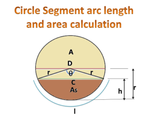 Online calculator for circle segment arc length, chord length and area -sugarprocesstech