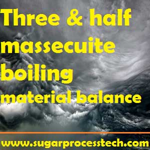 Three and half massecuite boiling material balance calculation |Sugar Tech | Sugar Industry 3& 1/2 massecuite boiling scheme material balance