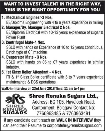 Sugar industry Job vacancies Information