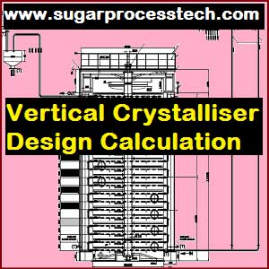 Vertical crystallizers concepts and its Design aspects | Vertical Crystalliser Design Calculation like - Requirement of heating surface as per formula with example, Cooling water requirement for crystallizer massecuite cooling, Mechanical Design of shell thickness and Bottom plate thickness.