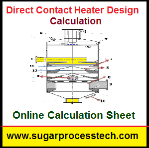 Direct Contact Heater Design Calculation with Online Calculator -sugarprocesstech