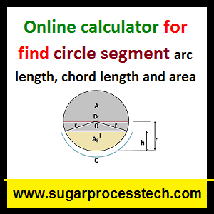 Circle segment area , arc length, chord length Formulas with online calculation -sugarprocesstech