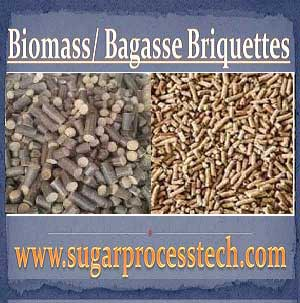 Manufacturing Process of Bagasse or Biomass Briquettes | Calorific values Biomass Briquettes | Major Equipment used in Bagasse briquettes